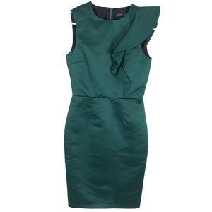 Zara Basic Dress XS Ruffle Green Formfitting Party